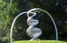 Double helix sculpture at CSHL